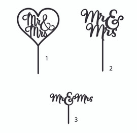 Mr & Mrs Topper MDF Laser Cut Inhouse by Imagine If.  This cute 'Mr & Mrs' cake topper is perfect for on top of an engagement or wedding cake!  Simply decorate this MDF design however you like - paper, paint, glitter, embossing powder or leave it as is!  150mm wide  Note: Wrap the sticks in foil or cling wrap before putting into the cake to avoid the MDF from going soggy. If you need this design smaller or larger to fit your cake size, let us know and we can resize it. We also produce custom designs - fill in a contact form on the Contact Us page and we can give you a price.