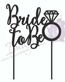 Bride-to-Be MDF Cake Topper Laser Cut In-house by Imagine If  This cute 'Bride-to-be' cake topper is perfect for on top of a Bachelorette or Hen's party cake! Simply decorate this MDF design however you like - paper, paint, glitter, embossing powder or leave it as is!  15cm wide  Topper is a cutout MDF wood finished product.  Note: Please wrap the sticks in foil or cling wrap before putting into the cake to avoid the MDF from going soggy. If you need this design smaller or larger to fit your cake size, let us know and we can resize it. We also produce custom designs - fill in a contact form on the Contact Us page and we can give you a price.