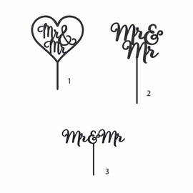 Mr & Mr MDF Cake Topper  Laser Cut Inhouse by Imagine If.  This cute 'Mr & Mr' cake topper is perfect for on top of an engagement or wedding cake!  Simply decorate this MDF design however you like - paper, paint, glitter, embossing powder or leave it as is!  142mm wide x 173mm high (including sticks)  Note: Wrap the sticks in foil or cling wrap before putting into the cake to avoid the MDF from going soggy. If you need this design smaller or larger to fit your cake size, let us know and we can resize it. We also produce custom designs - fill in a contact form on the Contact Us page and we can give you a price.