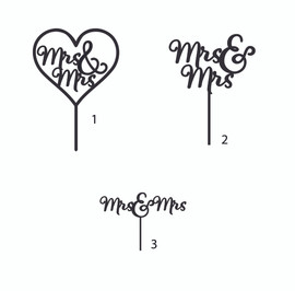 Mrs & Mrs MDF Cake Topper Laser Cut Inhouse by Imagine If. This cute 'Mrs & Mrs' cake topper is perfect for on top of an engagement or wedding cake! Simply decorate this MDF design however you like - paper, paint, glitter, embossing powder or leave it as is!  150mm wide Note: Wrap the sticks in foil or cling wrap before putting into the cake to avoid the MDF from going soggy. If you need this design smaller or larger to fit your cake size, let us know and we can resize it. We also produce custom designs - fill in a contact form on the Contact Us page and we can give you a price.