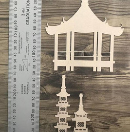Oriental Inspired Temples -Chipboard