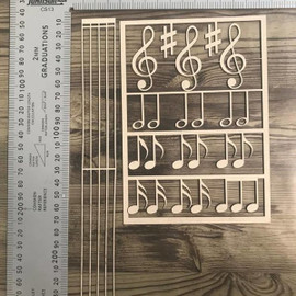 Music Score and Notes -Chipboard