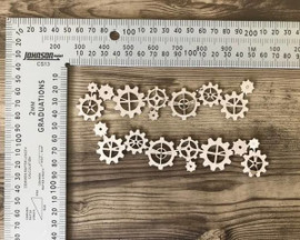 Row of Cogs set of 2 -Chipboard