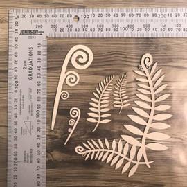 Silver Fern, Koru Set -Chipboard
