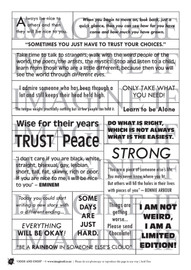 One A4 sheet of sayings or quotes that didn't really fit anywhere else. We have used Acid free paper, this is printed on plain matt white card, but can be inked, or sprayed to match your projects. It is very good for tearing, and with clear boxes, trimming is made easy. Printed here in New Zealand. can be used for scrap booking, card making, art journalling or off the page projects.