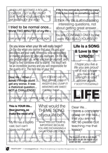 One A4 sheet of sayings or quotes based on life theme. We have used Acid free paper, this is printed on plain matt white card, but can be inked, or sprayed to match your projects. It is very good for tearing, and with clear boxes, trimming is made easy. Printed here in New Zealand. can be used for scrap booking, card making, art journalling or off the page projects.