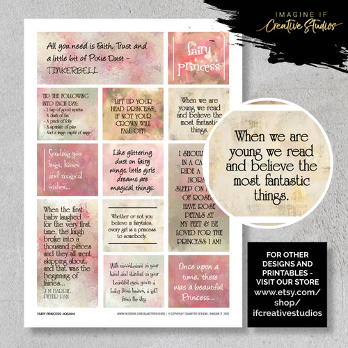 One A4 sheet of sayings or quotes based on fairies and castles theme. We have used Acid free paper, this is printed on plain matt white card, but can be inked, or sprayed to match your projects. It is very good for tearing, and with clear boxes, trimming is made easy. Printed here in New Zealand. can be used for scrap booking, card making, art journalling or off the page projects.