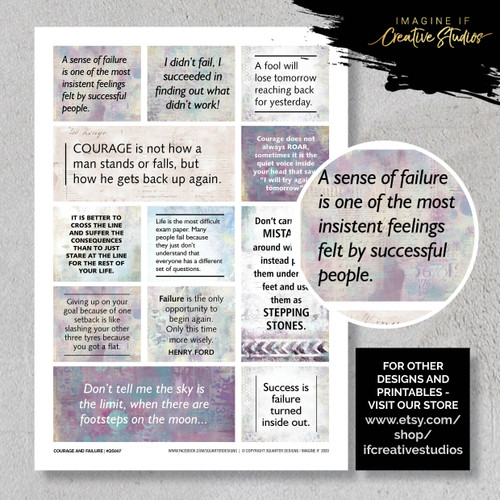 One A4 sheet of sayings or quotes based on finding a little courage theme. We have used Acid free paper, this is printed on plain matt white card, but can be inked, or sprayed to match your projects. It is very good for tearing, and with clear boxes, trimming is made easy. Printed here in New Zealand. can be used for scrap booking, card making, art journalling or off the page projects.