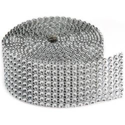 """Darice Bling On A Roll 1.37""""X2yd 8 Rows, Silver"""