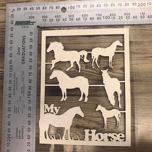 Horses Set of 6 plus frame -Chipboard