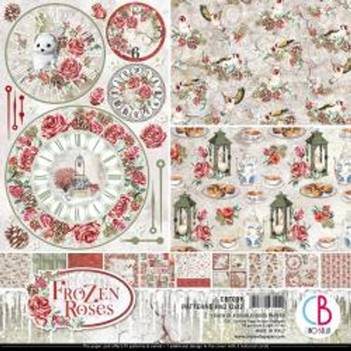 """Ciao Bella Double-Sided Paper Pack 90lb 12""""X12"""" 8/Pkg Frozen Roses, 8 Designs/1 Each 12""""X12"""" 8/Pkg Collateral Rust, 8 Designs/1 Each"""