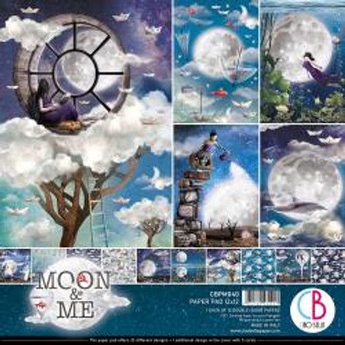 """Ciao Bella Double-Sided Paper Pack 90lb 12""""X12"""" 12/Pkg Moon & Me, 12 Designs/1 Each12""""X12"""" 12/Pkg Hipster, 12 Designs/1 Each"""