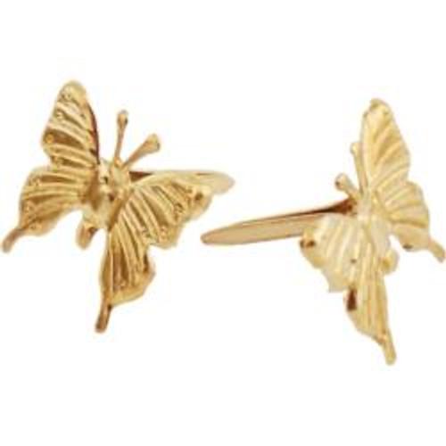 Gold Metal Paper Fasteners Butterflies 10mm 25Pkg