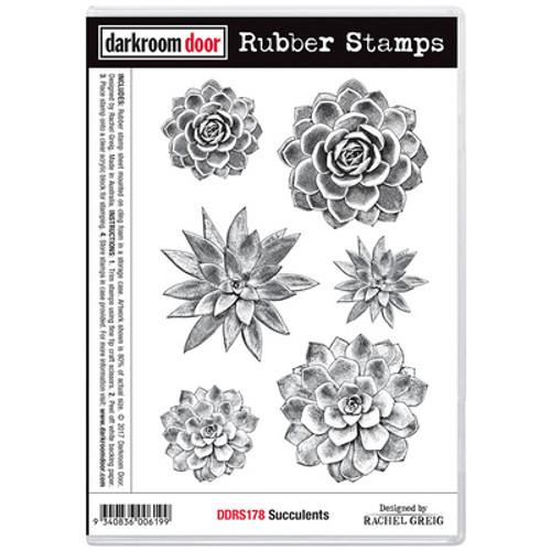 arkroom Door Rubber Stamp Set - Succulents