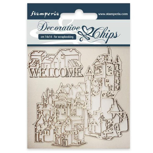 Stamperia Decorative Chips Welcome 14 x 14cm