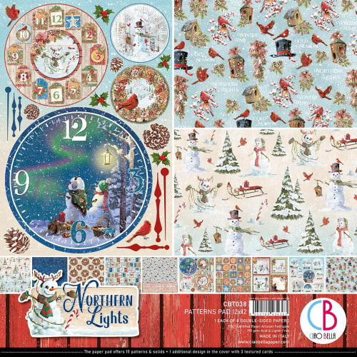 """Ciao Bella Double-Sided Paper Pack 90lb 12""""X12"""" 8/Pkg Northern Lights"""