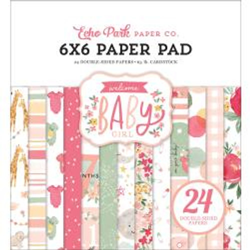 """Echo Park Double-Sided Paper Pad 6""""X6"""" 24/Pkg Welcome Baby Girl"""