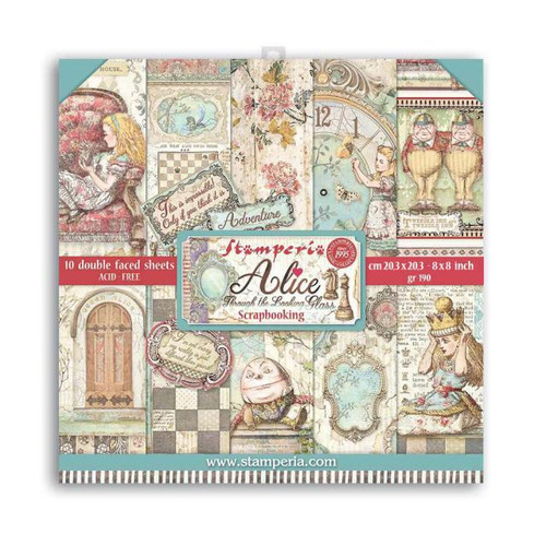 Stamperia Alice through the looking glass Paper Pack 8 x 8