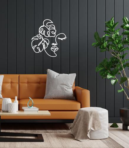 Lasercut Acrylic Wall Art - Woman and Leaves - Honour