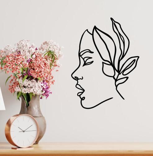 Lasercut Acrylic Wall Art - Woman and Leaves - Imogen