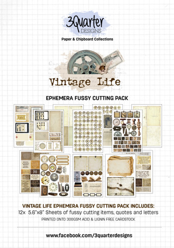 3Quarter Designs Ephemera Packs: Vintage Life  12x A5 Pages of coordinating designs that can be fussy cut to add dimension to your projects! Acid free paper 300gsm holds its shape and can take mixed media products well!