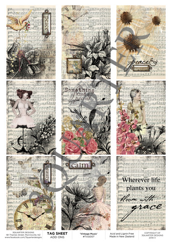 3Quarter Designs Tag Sheet Vintage Music  3Quarter Designs presents TAGS Add On's! A4 (210 x 297mm) 300gsm card stock Acid and lignin free Designed and Printed in New Zealand These printed designs are suitable for all types of paper crafts in a range of shapes and sizes that include images and quotes and can be used on a number of projects! Add them onto your cards, scrapbook layouts, mini albums and off the page or use them on your art journal pages. They are a great Add On product with many uses -on your cards they can be a feature or a matt for your focus piece. Add them onto your layouts as a quote, a photo matt or tucked as an added layer, you can also fussy cut them and be used as paper embellishments!