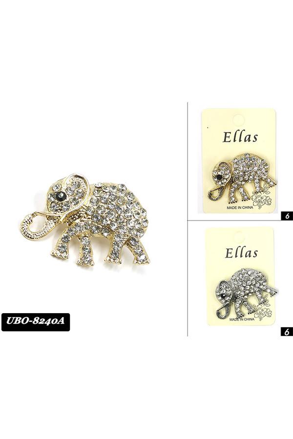 ELEPHANT STONE BROOCH-UBO8240A (12PC)