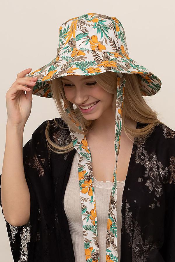 HIBISCUS CHIN TIE BUCKET HAT-BHU110038-YELLOW