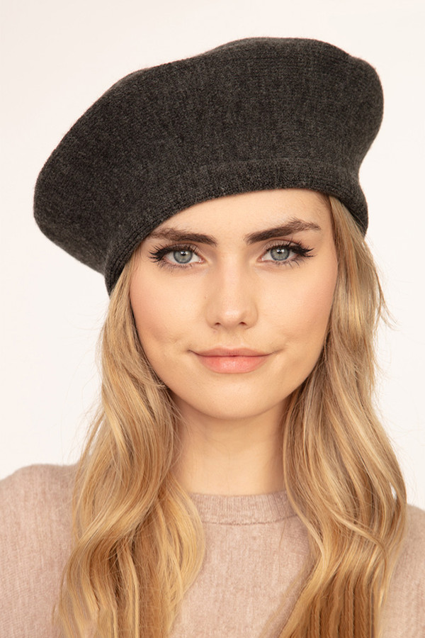 SOLID STRETCHY BERET-MH0011-CHARCOAL