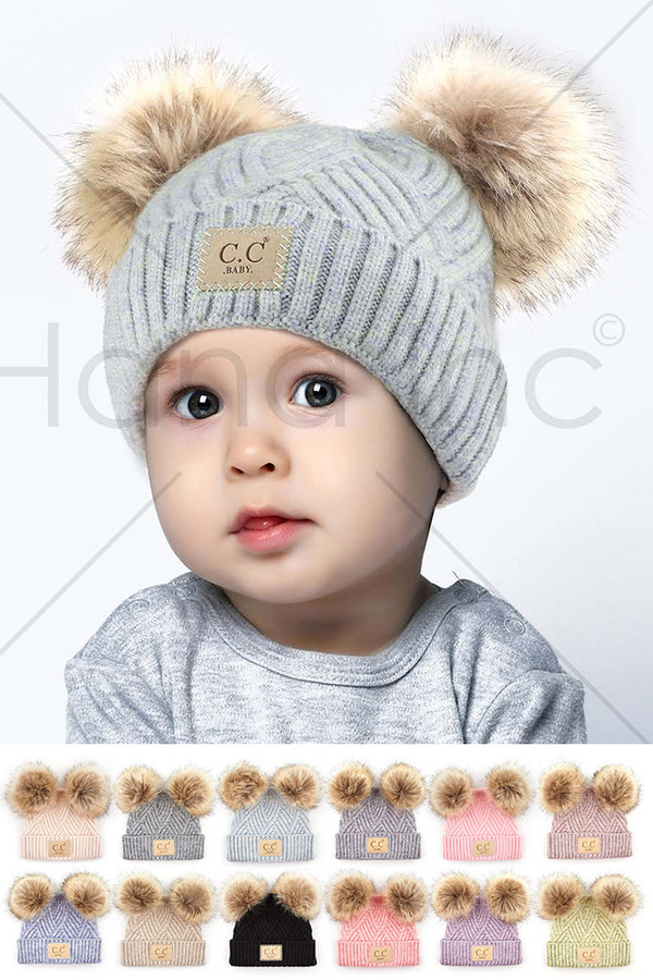C.C DIAGONAL TRIPES PATTERN BABY POM BEANIE-BABY-2060-POMPOM