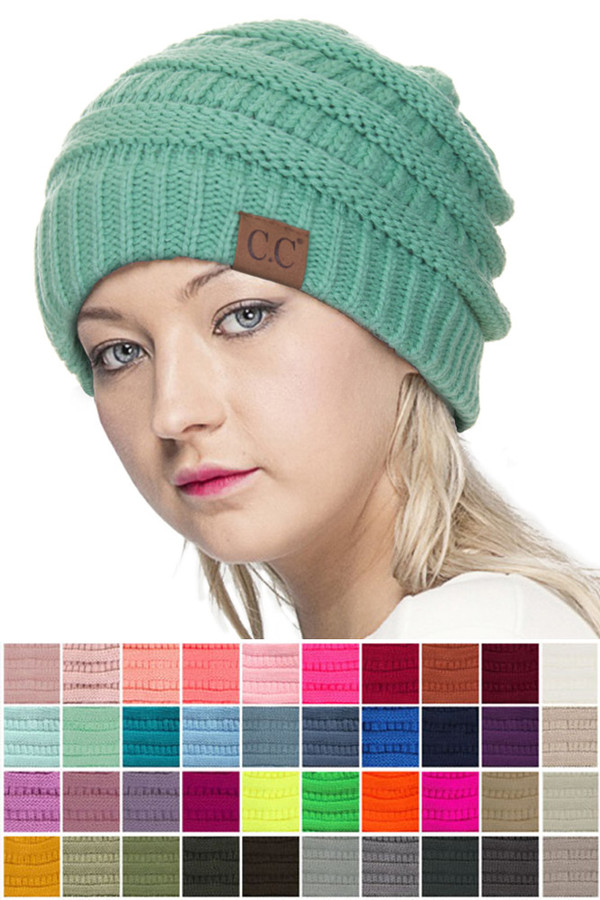 C.C RIBBED KIT SOLID COLOR BEANIE-HAT-20A