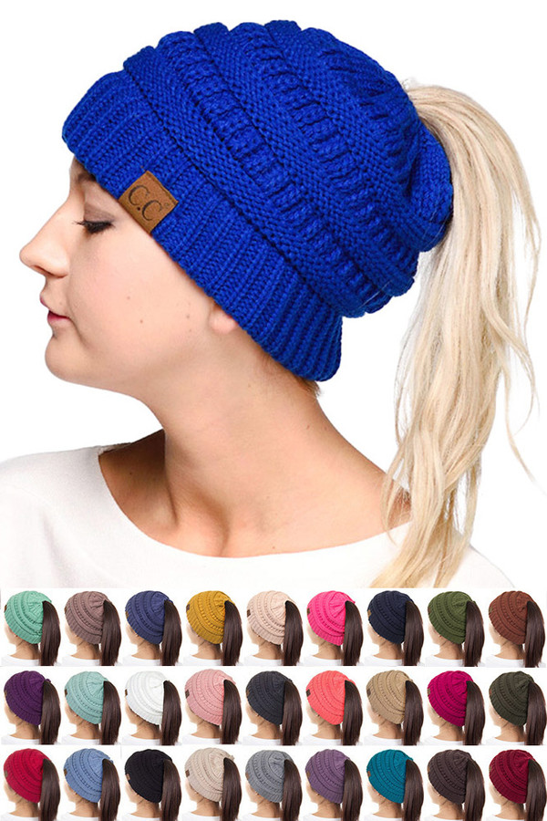C.C SOLID COLOR PONYTAIL MESSY BUN BEANIE-MB-20A