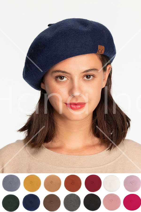C.C Solid Color Wool Beret with Adjustable Strings-BR-08