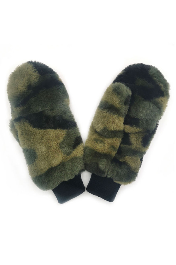 Camouflage Faux Fur Pop Top Mittens-WGM120014