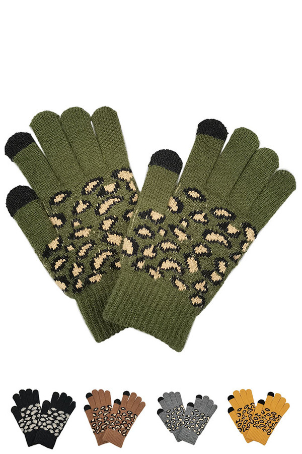 Leopard Knit Touch Gloves-WGT120072
