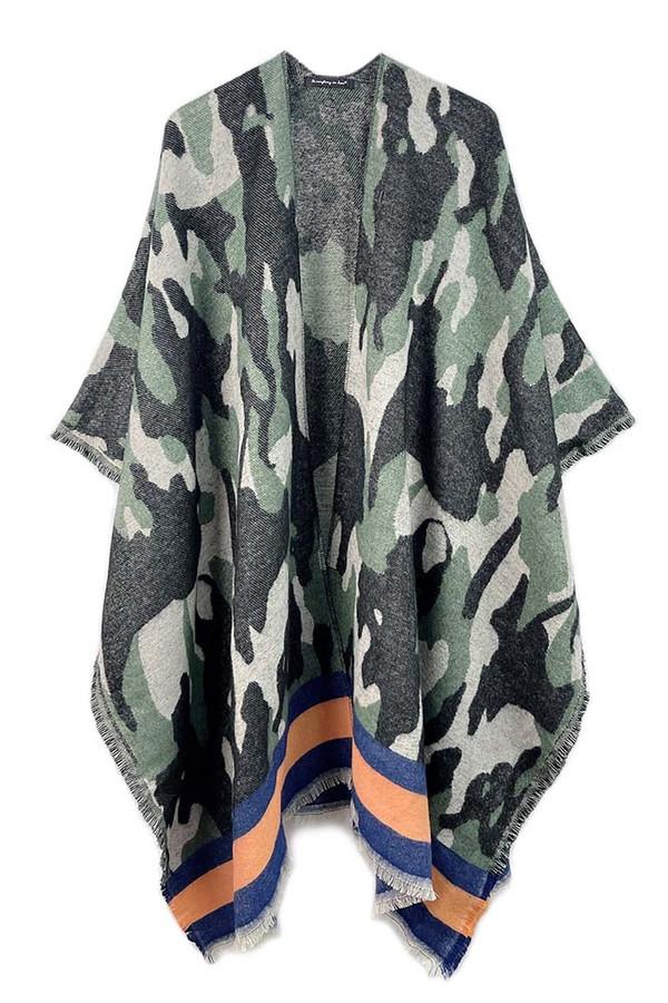 Camouflage Bordered Kimono with Frayed Edge-YCK120137