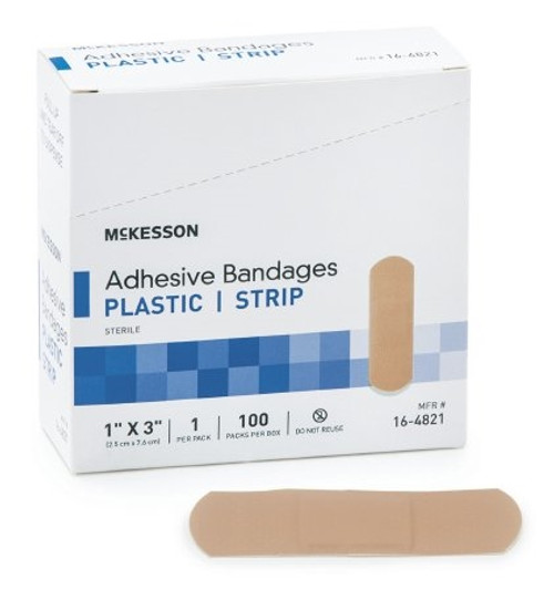 Adhesive Strip McKesson Plastic Rectangle Tan Sterile