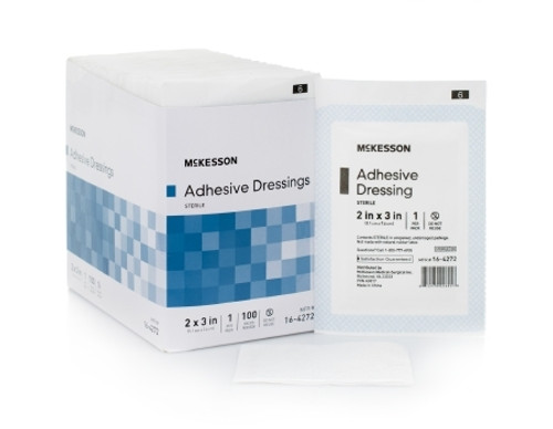 Adhesive Dressing McKesson Cotton Poly Blend Rectangle White Sterile