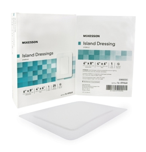 Adhesive Dressing McKesson Polypropylene  Rayon Rectangle White Sterile