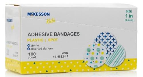 Adhesive Spot Bandage McKesson Diameter Plastic Round Kid Design