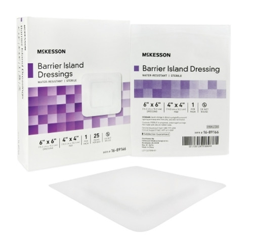 Composite Barrier Island Dressing Water Resistant McKesson Rayon Pad Sterile
