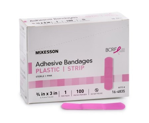 Adhesive Strip McKesson Plastic Rectangle Pink Sterile