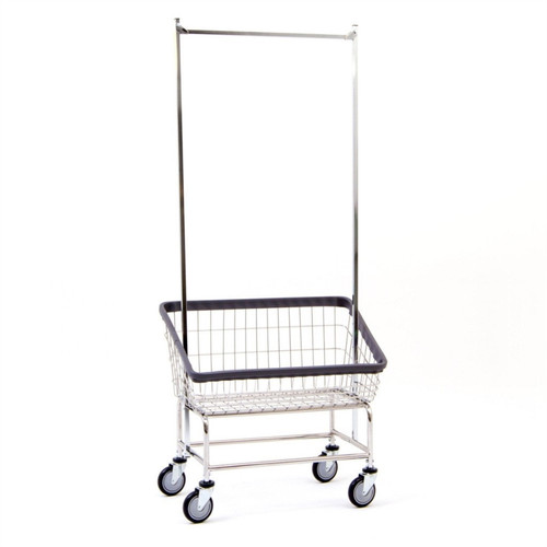 Large Capacity Front Load Laundry Cart w/Double Pole Rack