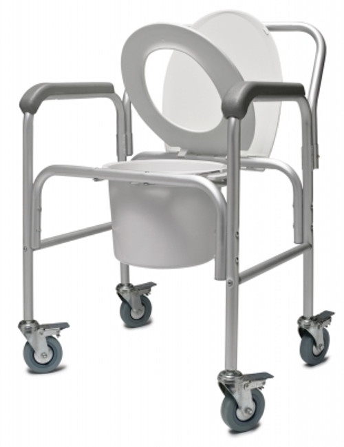 Three-In-One Aluminum Commodes With Casters and Removable Back Bar