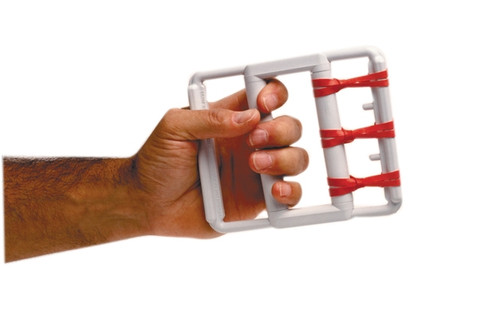 cando rubberband hand exerciser with 5 red bands