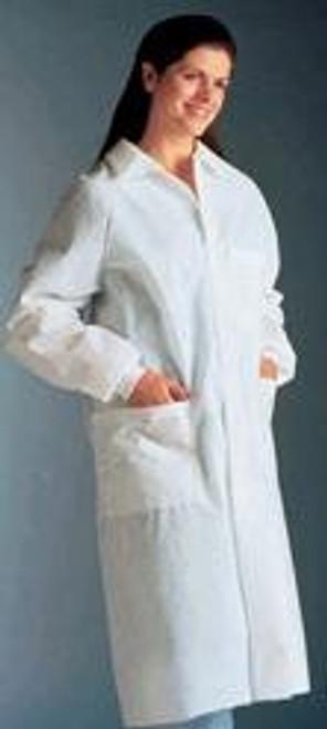 Lab Coat LabMates White Long Raglan Sleeves Knee Length