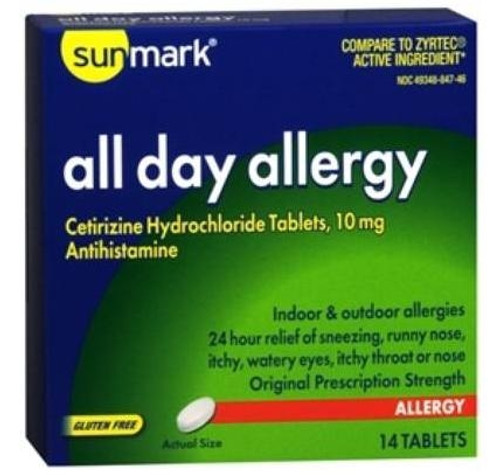 sunmark 24 hour all day allergy tablets