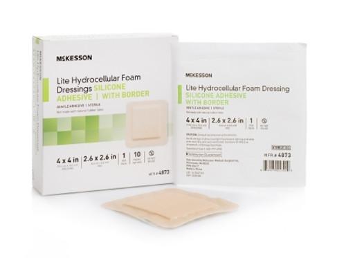 Thin Silicone Foam Dressing McKesson Lite  Square Silicone Gel Adhesive with Border Sterile