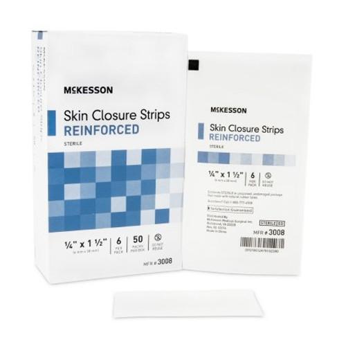 Skin Closure Strip McKesson Nonwoven Material Reinforced Strip White