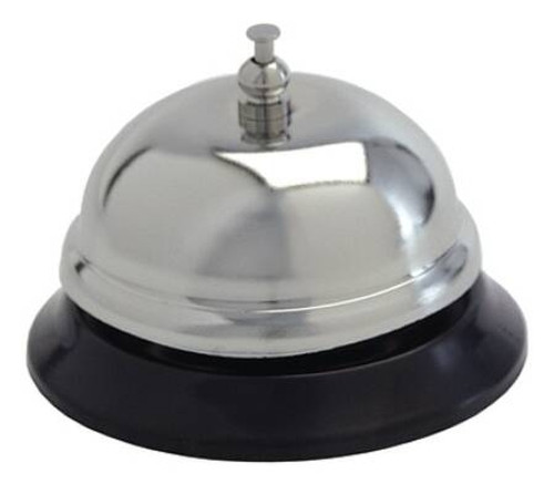 Call Bell Push Button - Polished Steel / Black Vinyl Base